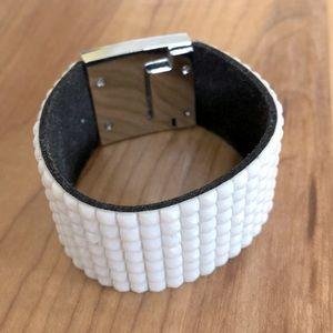 White w/ silver clasp statement bracelet
